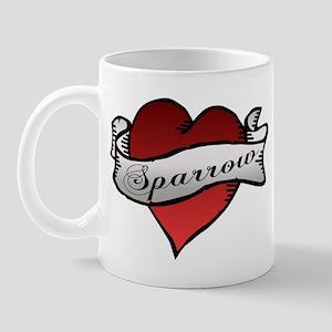 Sparrow Tattoo Heart Mug