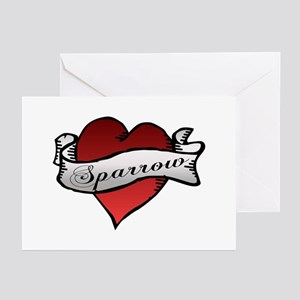 Sparrow Tattoo Heart Greeting Cards (Pk of 10)