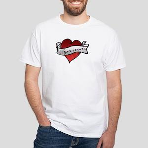 Sparrow Tattoo Heart White T-Shirt