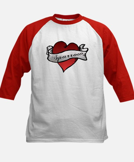 Sparrow Tattoo Heart Kids Baseball Jersey