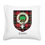 Christie Clan Badge Tartan Square Canvas Pillow
