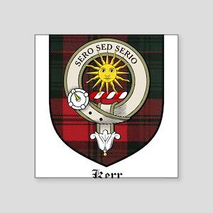 """Kerr Clan Crest Tartan Square Sticker 3"""" x 3"""""""