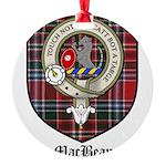 MacBean Clan Crest Tartan Round Ornament