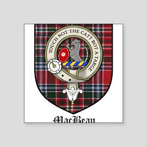 "MacBean Clan Crest Tartan Square Sticker 3"" x 3"""