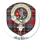 MacBean Clan Crest Tartan Round Car Magnet