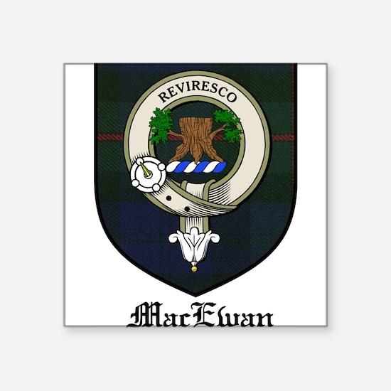 "MacEwan Clan Crest Tartan Square Sticker 3"" x 3"""