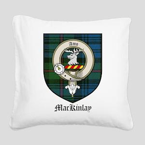 MacKinlay Clan Crest Tartan Square Canvas Pillow