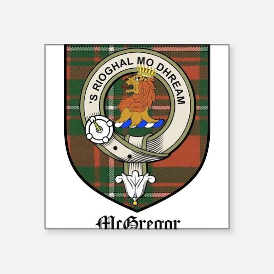 """McGregor Clan Crest Tartan Square Sticker 3"""" x 3"""""""