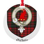 Nichols Clan Crest Tartan Round Ornament