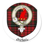Nichols Clan Crest Tartan Round Car Magnet