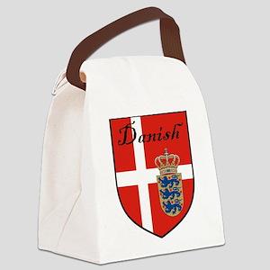 Danish Flag Crest Shield Canvas Lunch Bag