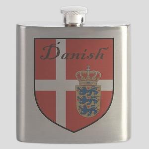 Danish Flag Crest Shield Flask
