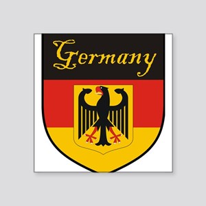 "Germany Flag Crest Shield Square Sticker 3"" x 3"""