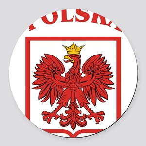 Polskaeagleshield Round Car Magnet