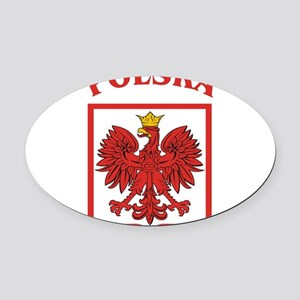 Polskaeagleshield Oval Car Magnet