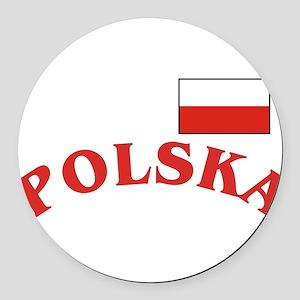 Polska-withflag Round Car Magnet