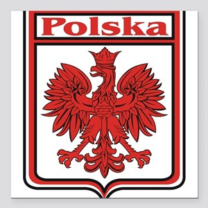 "Polska Crest Shield Square Car Magnet 3"" x 3"""