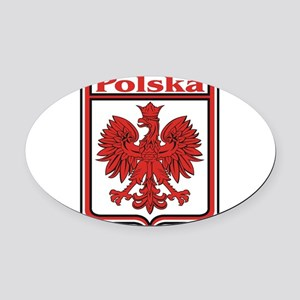 Polska Crest Shield Oval Car Magnet