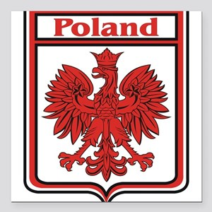 "Poland Shield / Polska Square Car Magnet 3"" x 3"""