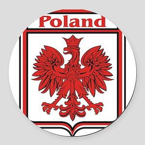Poland Shield / Polska Round Car Magnet
