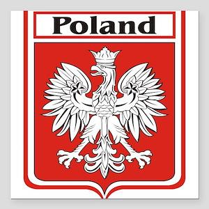 "Poland-shield Square Car Magnet 3"" x 3"""