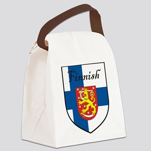 Finnish Flag Crest Shield Canvas Lunch Bag