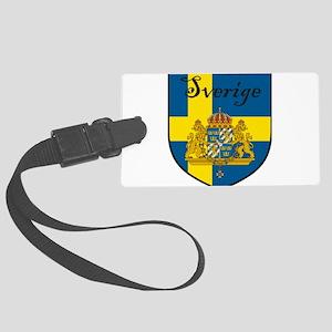 Sverige Flag Crest Shield Large Luggage Tag