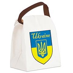 Ukraine Flag Crest Shield Canvas Lunch Bag