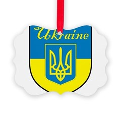 Ukraine Flag Crest Shield Ornament