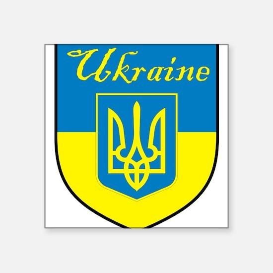"Ukraine Flag Crest Shield Square Sticker 3"" x 3"""