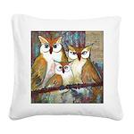 Owl Family Portrait Square Canvas Pillow