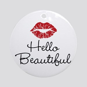 Hello Beautiful Red Lips Ornament (Round)