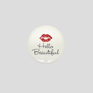 Hello Beautiful Red Lips Mini Button