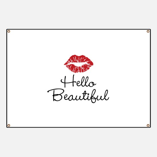 Hello Beautiful Red Lips Banner