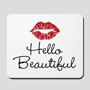 Hello Beautiful Red Lips Mousepad