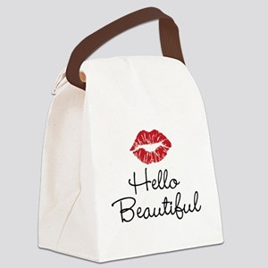 Hello Beautiful Red Lips Canvas Lunch Bag