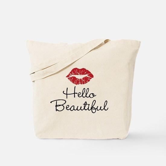 Hello Beautiful Red Lips Tote Bag