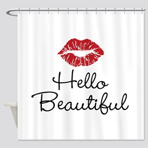 Hello Beautiful Red Lips Shower Curtain