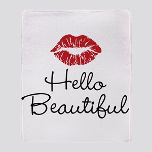 Hello Beautiful Red Lips Throw Blanket