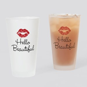 Hello Beautiful Red Lips Drinking Glass