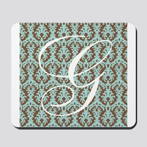 G Initial Damask Turquoise and Chocolate Mousepad