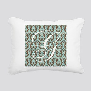 G Initial Damask Turquoise and Chocolate Rectangul