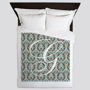 G Initial Damask Turquoise and Chocolate Queen Duv