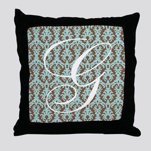 G Initial Damask Turquoise and Chocolate Throw Pil