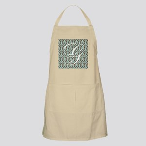 G Initial Damask Turquoise and Chocolate Apron