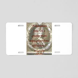 Redemption From Sin - Defoe Aluminum License Plate