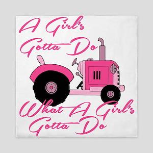 Pink Tractor Queen Duvet