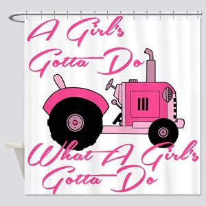 Pink Tractor Shower Curtain