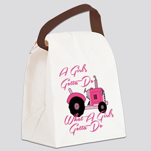 Pink Tractor Canvas Lunch Bag