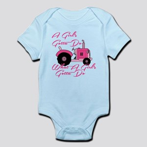 Pink Tractor Body Suit